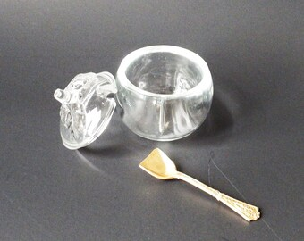 Glass Jam Pot with Antique Spoon, Sculpted Leaf Top, Small Clear Glass Honey Jar, B and B Decor, Breakfast in Bed