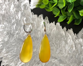 Natural Yellow Chalcedony Pear Briolette With Sterling Silver U-Shaped Lever Back