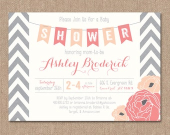 CORAL BABY SHOWER Invitation - Chevron Banner - Peonies