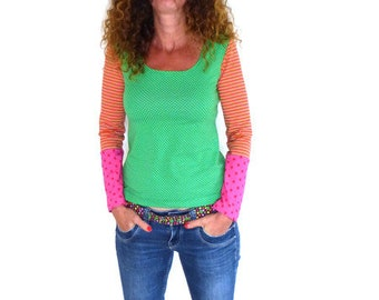 Shirt A-shape, green, pink, orange stripes + dots