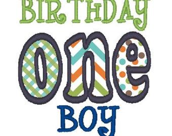 ONE 1st First Birthday Boy 4x4 5x7 Applique Machine Embroidery Design Instant Download Happy Birthday shirt bib party son 1st celebration