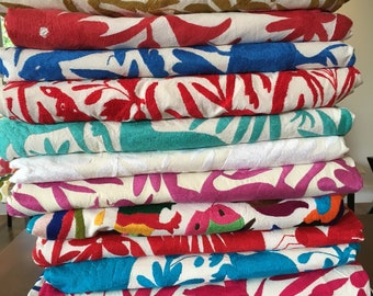 Otomi - Hand embroidered coverlet bedspread or tablecloth