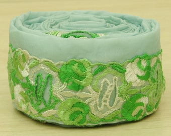 Free Shipping Vintage Indian Sari Trim Border Lace Sewing Embroidered Green Used Ribbon 1YD VB12542