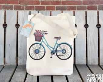 Bicycle Tote Bag, Ethically Produced Reusable Shopper Bag, Cotton Tote, Shopping Bag, Eco Tote Bag, Reusable Grocery Bag, Stocking Filler