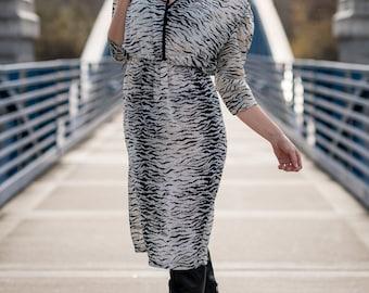 Vintage Black And White Zebra Print Sheer Dress (Size Medium)