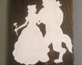 Beauty and the Beast themed wood panel painting