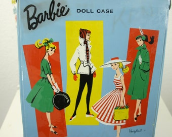 1961 Barbie Ponytail Mattel case blue trunk suitcase single accessory storage vintage toy display