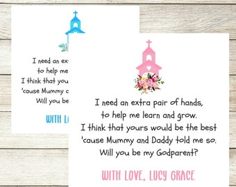 Will you be my Godparent Godmother Godfather Card, Personalised Christening Card, Godparent Request Card, New Baby Baptism Godfather Card