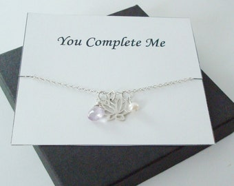 Lotus Charm with White Pearl and Pink Amethyst Silver Necklace ~Personalized Jewelry Card for Mom, Best Friend, Sister, Bridal Party, Wife