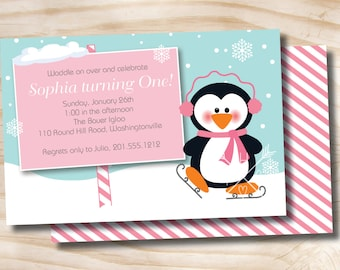 PENGUIN PARTY Winter Wonderland Birthday Party Invitation Photo Digital Card Double Sided- diy, you print, printable