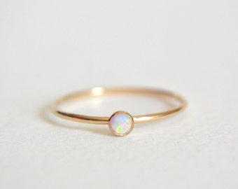 Gold Opal Ring, Gold Filled Opal Ring, Opal Ring Gold, White Opal Ring, Stacking Ring, Dainty Opal Ring, Stackable Ring