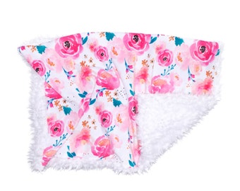 Pink Watercolor Floral Blanket, Minky Baby Blanket, Floral Baby Blanket, Pink Baby Blanket, Newborn Blanket, Watercolor Baby Cloud Blanket