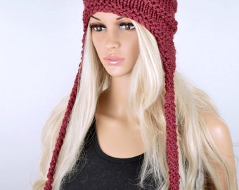 Hat, Knit hat, Chullo, Ear Flap Hat, Pom Pom Hat, Winter Hat, Handmade Hat, Chullo Hat, Burgundy Earflap, Wool Hat, Fashion Hat