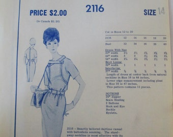 Modes Royale 2116 Women's 60s Daytime Shaped Tailored Dress Sewing Pattern Size 14 Bust 34