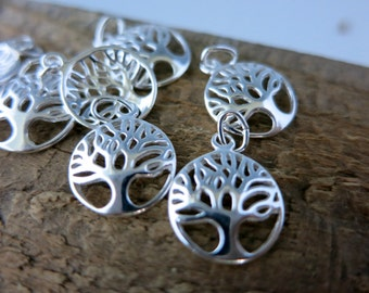 Tree of Life Charm, Sterling Silver 12x10mm and Bail, 1 Charm, Ready to Ship!
