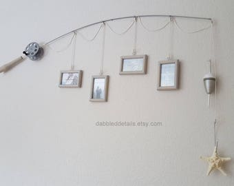 Fishing Pole Picture Frame - Silver Pole - 4 - 2 1/4 in x 3 1/2 in Picture Frames - Distressed Driftwood