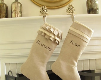 Christmas Stocking Personalized Linen Pair Embroidered Name Monogram Wedding Gift Better Homes and Gardens