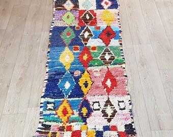 """95""""/35"""" Moroccan Berber Vintage Boucherouite Rug, Handmade Vintage Moroccan Boucherouite Rug, Kilim Rug,"""