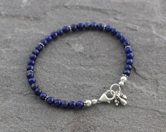 Lapis Lazuli Bracelet, Lapis Bracelet, Beaded Lapis Jewelry, Blue Beaded Bracelet, Dark Blue Stones, Sterling Silver
