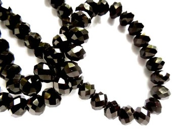 50 Black Faceted Rondelle Glass Beads - 29-6