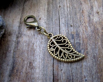 Bronze Filigree Leaf Charm - Midori Charm - Fauxdori Traveler's Notebook Charm