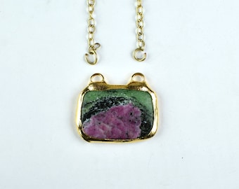 Natural rectangle bar Ruby Zoisite necklace gold plated Ruby necklace women jewelry gift for her GFS1840