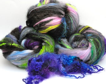 Textured, Chunky Carded Art Batts + Locks - Magic - 5 ounces - For Spinning or Felting