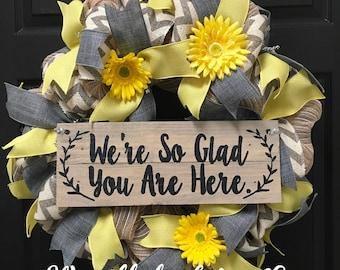 welcome wreath, chevron wreath, front door wreath, custom wreath,everyday wreath, burlap wreath, spring wreath, summer wreath, handmade