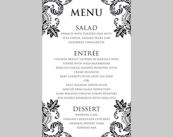 Wedding Menu Card Template – Black Damask - Instant Download - Editable MS Word File