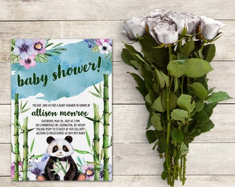Panda Baby Shower Invitation, Bamboo Baby Shower, Watercolor Panda, Baby Shower Boy, Watercolor Floral Invitation, Printable No. 1034