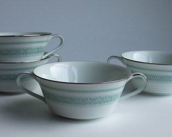 Four Noritake soup bowls with handles - Greenfield 6585 - green floral with platinum trim  - vintage 1960s