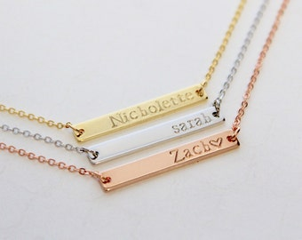 Custom Bar Necklace, Personalized Name Necklace, Dainty Bar Necklace, Gold Bar Necklace, Hand Stamped Necklace, Customized Bar Necklace
