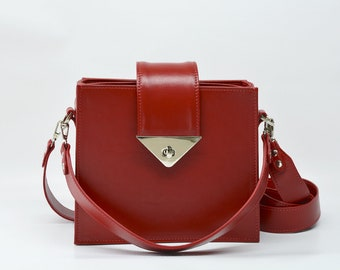Leather crossbody purse, bag square red, leather handbag, women leather bag, leather bag purse, womens leather crossbody, Squares Style
