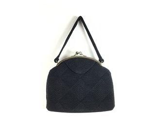 1940s purse, Cord 40s purse, black vintage purse, black vintage bag, corc purse, cord bag, handbag