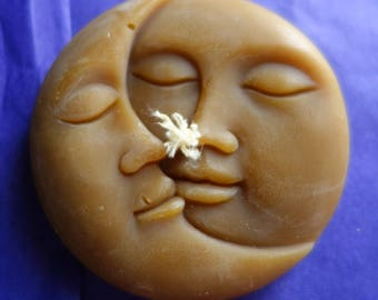 natural beeswax macaroon, moon with 2 faces