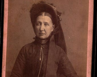 antique cdv of woman wearing a veil on her hat hair center parted ided as ellen (geneology)
