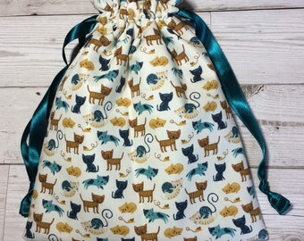 Drawstring project bag - Knitty Kitties