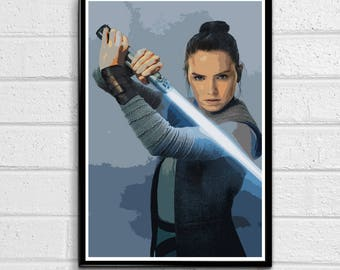 Star Wars - Rey - The Last Jedi and The Force Awakens Illustration #3, Movie Pop Art, Home Decor, Sci-fi Poster, Film Print Canvas
