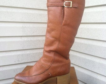 1970's vintage tall brown leather knee boots/70's leather hippie boots/70's brown leather boho boots-7