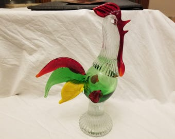 art glass rooster green yellow and red