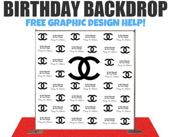 Designer Birthday Photo Booth Backdrop - Photo Booth Backdrop, Step and Repeat Backdrop for Wedding, Birthday, Any Event Backdrop,