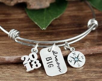 Abschluss-Armband, personalisierte Kompass, Traum große, inspirierende Geschenk, Klasse der 2018 High School, College-Abschluss-Geschenk