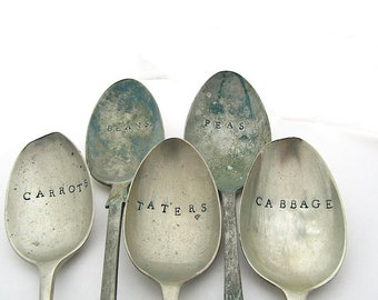 Vegetable Garden Labels, Hand Stamped Mismatched Vintage Dessert Spoons, 7 Inches, Rustic Plant Markers