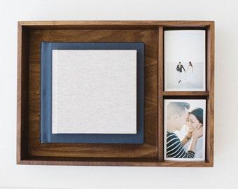 12x12 With Prints Engraved Walnut Wood Photo Album Box