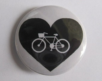 """I love bikes - black and white bicycle - 1.25"""" or 1.5"""" - Pinback Button - Magnet - keychain"""
