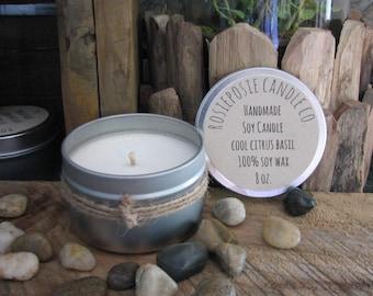Cool Citrus Basil 8 oz. Soy Wax Candle Travel Tin Handmade