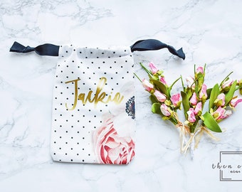 Personalized Flower Bag // 5x7 // Bridal Shower Gift // Just Because Gift // Jewelry Bag // Bridesmaid Gifts // Bridal Drawstring Bag