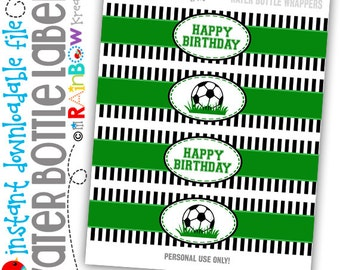 WBW-802: DIY - Soccer Water Bottle Wrappers - Instant Downloadable File