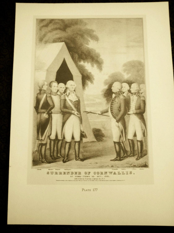 Currier and Ives Vintage 1942 print Surrender of Cornwallis