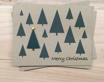 8 Merry Christmas Tree Cards, Set of 8 Holiday Cards